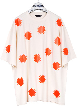 starstyling - Natural Neon Orange Salestar Bigshirt - 4XL - Natural/Orange