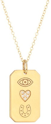 Zoë Chicco 14K Yellow Gold & Diamond Eye Heart U Dog Tag Pendant Necklace