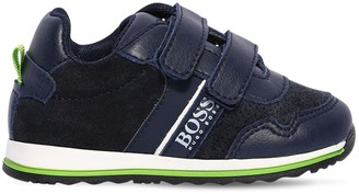 HUGO BOSS Faux Leather & Faux Suede Strap Sneakers