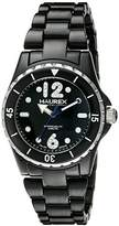 Haurex Italy Women's PN379DN1 Beauty Round Black Dial Rotating Bezel Crystal Watch