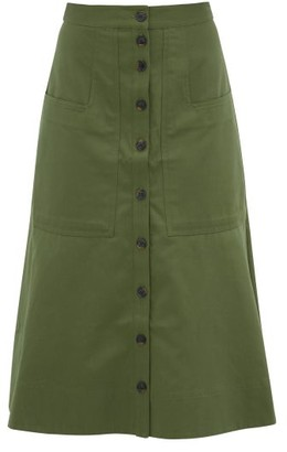 Tibi Harrison Cotton-twill Skirt - Green