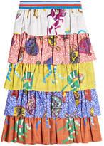 Stella Jean Tiered Cotton Print Skirt