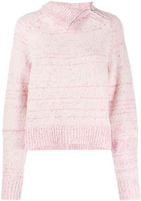Isabel Marant asymmetric collar marled knit jumper