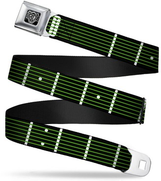 """Buckle Down Buckle-Down Seatbelt Belt - Guitar Neck Black/White/Lime Green - 1.5"""" Wide - 24-38 Inches in Length"""