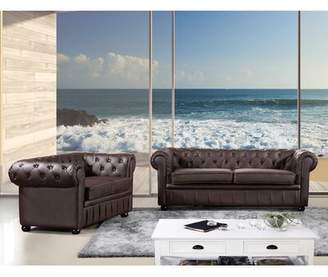 Darby Home Co Kiska Chesterfield 2 Piece Leather Living Room Set Darby Home Co Upholstery Color: Brown