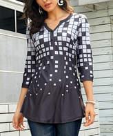 Reborn Collection Women's Tunics Charcoal - Charcoal & Gray Geometric Button-Up Top - Women & Plus
