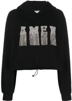 Amen long sleeve embroidered logo hoodie