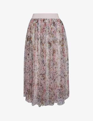 Ted Baker Jasmine floral-print tulle midi skirt