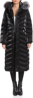 Badgley Mischka Faux Fur-Trimmed Iridescent Maxi Puffer