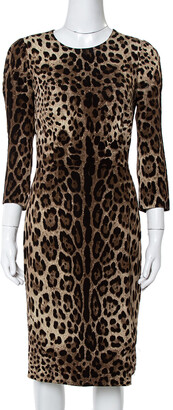 Dolce & Gabbana Brown Leopard Print Crepe Sheath Dress S