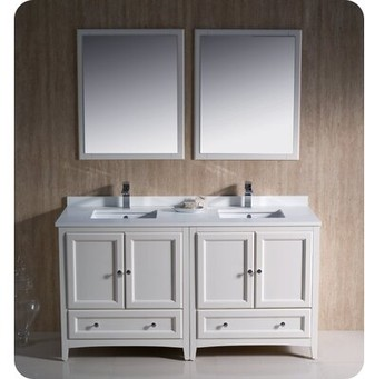 "Oxford 60"" Double Bathroom Vanity Set with Mirrors Fresca Base Finish: Antique White"