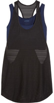 Ivy Park Layered Ribbed Mesh And Stretch-jersey Tank - Navy