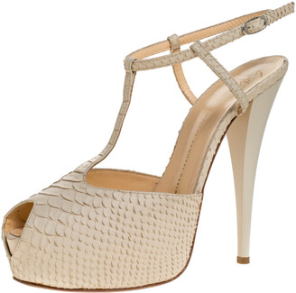Giuseppe Zanotti Beige Python Embossed Leather T Strap Platform Sandals Size 41