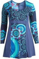 Aller Simplement Blue & Rose Floral Empire-Waist Dress - Plus Too