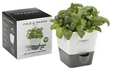 Cole & Mason Fresh Herb Range Self-Watering Potted Herb Keeper - Enamel Coated Steel/White and Grey, Single