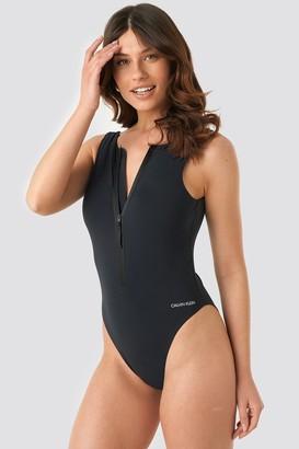 Calvin Klein Square Back One Piece Swimsuit Black