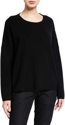 Eileen Fisher Petite Boxy Fine Merino Wool Ribbed Sweater