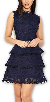 AX Paris Women's Special Occasion Dresses Navy - Navy Lace Ruffle-Tier Sleeveless Fit & Flare Dress - Women