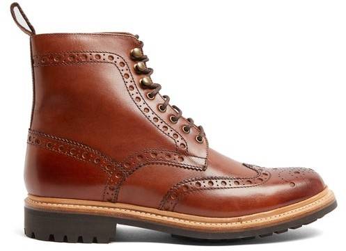 28bd9d2f91b Fred Leather Brogue Boots - Mens - Brown