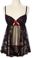Black Lace & Swiss Dot Underwire Babydoll & Thong