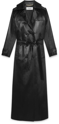 Saint Laurent Faux Leather Double-Breasted Trench Coat