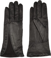 Agnelle Zip-detailed leather and suede gloves