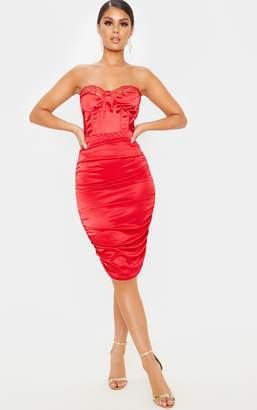 PrettyLittleThing Deep Red Metallic Slinky Ruched Midi Skirt