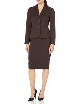 Le Suit Women's 2 Button Notch Collar Glazed Melange Skimmer Skirt Suit