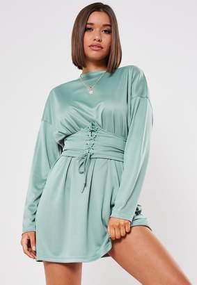 Missguided Blue Oversized Corset Belt T Shirt Dress