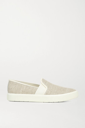 Vince Blair 5 Leather-trimmed Canvas Slip-on Sneakers - Beige
