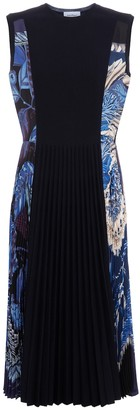 Salvatore Ferragamo Silk-trimmed wool-blend midi dress