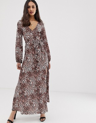 Asos Design DESIGN belted maxi dress with pleated skirt in leopard print-Yellow