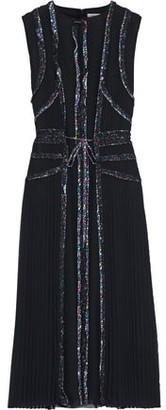 Jason Wu Grey Pleated Printed Chiffon Midi Dress