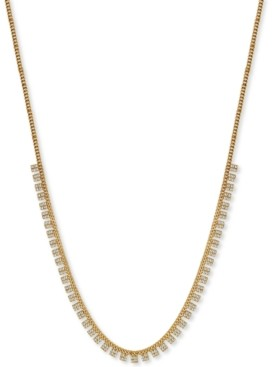 "Argentovivo Cubic Zirconia 18"" Statement Necklace in 18k Gold-Plated Sterling Silver"