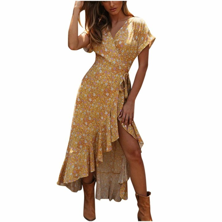 Younthone Women's Bohemian Dress Short-Sleeved Sexy V-Neck Floral Ruffled Split Strap Beach Dress Swing Dress Loose Casual Skirt Evening Party Ball Gown Yellow