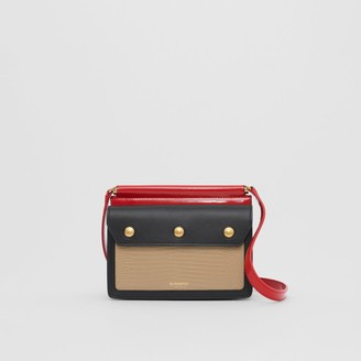 Burberry Mini Panelled Leather Title Bag with Pocket Detail