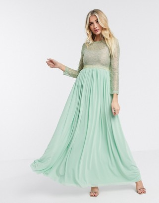 Rare London sheer long sleeve maxi dress in mint