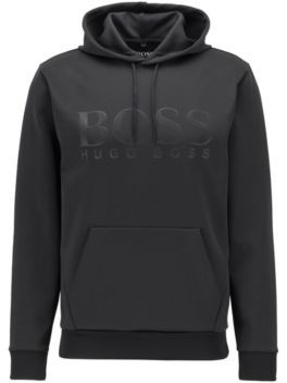 HUGO BOSS Hooded sweatshirt in double-faced recycled fabric with stretch