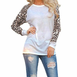 DEELIN Womens Round Collar Leopard Blouse Sexy Cute Club Autumn Winter Daily Fashion Ladies T-Shirt Loose Oversize Long Sleeve Tops(White UK-8 CN-S)