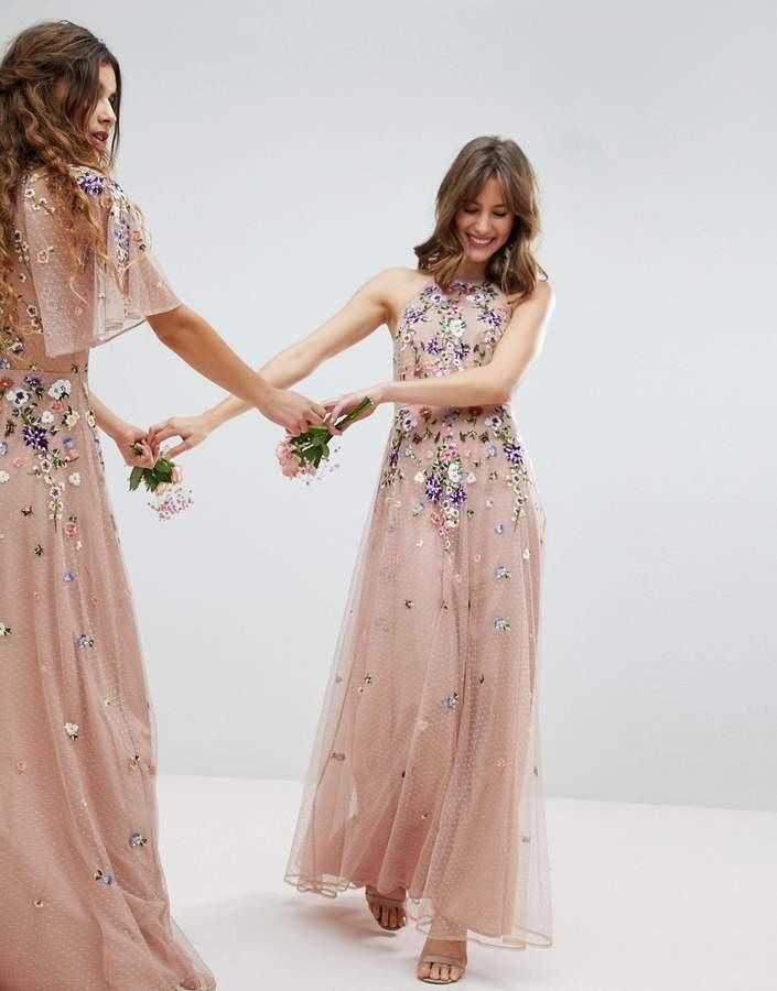 Asos Design Bridesmaid Floral Embroidered Dobby Mesh Cami Strap Maxi Dress