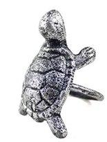 Hampton Nautical Antique Cast Iron Turtle Napkin Ring 3 Inch - Set of 2 - Beach Napkin Ring - Sea Decorations