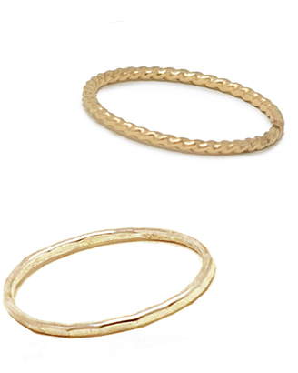 ABLE Set of 2 Twisted & Hammered Stacking Rings