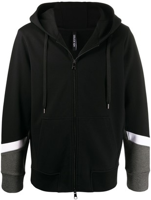 Neil Barrett Panelled Sleeves Zipped Hoodie