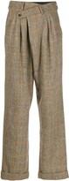 R 13 herringbone checked trousers