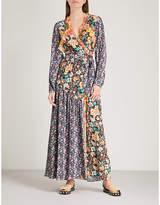 Frame Floral-panel woven wrap dress