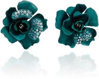 Anabela Chan Camelia 18K White Gold Vermeil Diamond Aquamarine Earrings