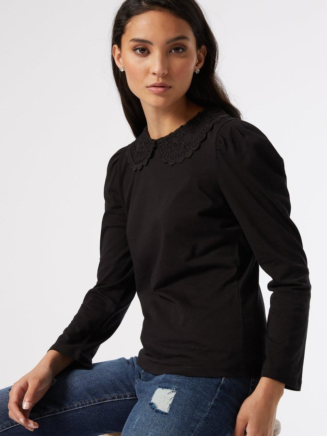 Thumbnail for your product : Dorothy Perkins Petite Collar Detail Top - Black