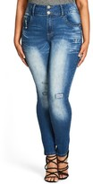 City Chic Plus Size Women's Ocean Apple Stretch Skinny Jeans