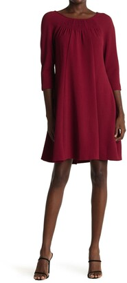 Gabby Skye Boatneck 3/4 Length Sleeves Solid Dress