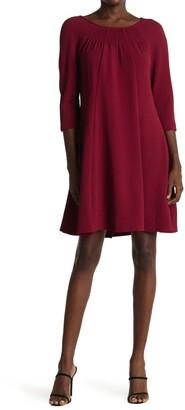Gabby Skye Boatneck 3/4 Length Sleeves Solid Dress